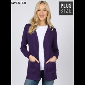 Dark Purple Cardigan Sweater